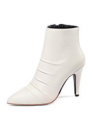 Недорогие -Жен. Обувь Полиуретан Наступила зима Модная обувь Ботинки На шпильке Заостренный носок Ботинки Белый / Черный / Для вечеринки / ужина