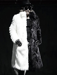 baratos -Homens Casaco de Pêlo Moda de Rua / Punk & Góticas - Sólido Patchwork