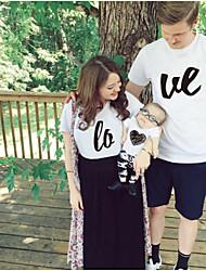 baratos -Adulto Olhar de família Sólido / Letra Manga Curta Camiseta