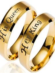 baratos -Casal Torcido Anéis de Casal - Aço Inoxidável Clássico, Anime, Desenho 6 / 7 / 8 Dourado Para Para Noite / namorados / 2pcs