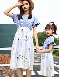 Недорогие -Взрослые / Дети Мама и я Цветочный принт С короткими рукавами Набор одежды