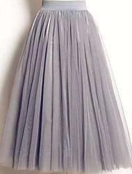 baratos -midi das mulheres uma linha / saias de balanço - cor sólida