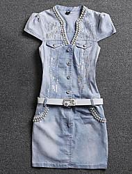 cheap -Women's Simple Denim Dress - Solid Colored