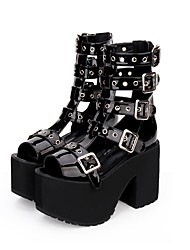 cheap -Lolita Shoes Punk Lolita Dress Punk Wedge Heel Shoes Solid Color 11 cm CM Black For PU(Polyurethane) Halloween Costumes