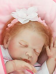 Недорогие -NPKCOLLECTION Куклы реборн Девочки 22 дюймовый как живой Ручные прикладные ресницы Гофрированные и запечатанные ногти Детские Девочки Игрушки Подарок / Естественный тон кожи / Головка дискеты