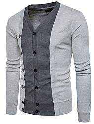 cheap -Men's Long Sleeve Cardigan - Color Block V Neck