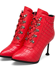 cheap -Women's Shoes PU(Polyurethane) Fall & Winter Fashion Boots / Bootie Boots Stiletto Heel Pointed Toe Booties / Ankle Boots Rivet White / Black / Red / Wedding / Party & Evening