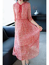 cheap -Women's Silk Shift Dress - Geometric Stand