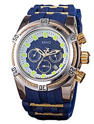 Недорогие -Муж. Спортивные часы Японский Кварцевый силиконовый Черный / Синий Защита от влаги Календарь Секундомер Аналоговый Классика На каждый день Мода Рождество - Черный Желтый Синий / Два года / Два года