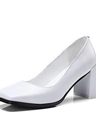 baratos -Mulheres Sapatos Pele Primavera Verão Plataforma Básica Saltos Salto Robusto Ponta quadrada Branco