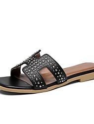 cheap -Women's Shoes Nappa Leather / PU(Polyurethane) Summer Comfort Slippers & Flip-Flops Flat Heel White / Black