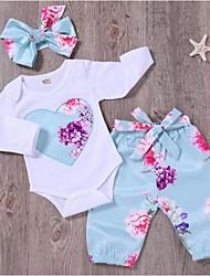 abordables -bébé Fille Actif / Basique Sports Fleur Manches Longues Longue Coton Ensemble de Vêtements