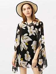 Недорогие -Жен. С открытыми плечами Классический Накидка Юбки Цветочный принт Цветок солнца