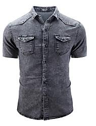 Недорогие -Муж. Джинса Рубашка Классический Контрастных цветов