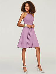 cheap -A-Line Halter Neck Knee Length Chiffon Bridesmaid Dress with Ruffles by LAN TING BRIDE®