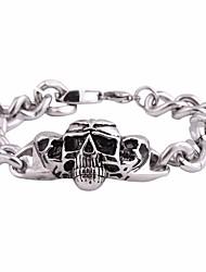 cheap -Men's Link / Chain Link Bracelet - Titanium Steel Skull Vintage, Punk, European Bracelet Silver For Birthday / Festival