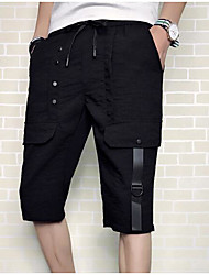 cheap -Men's Shorts Pants - Solid Colored Black & White, Pleated