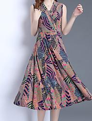 abordables -Mujer Elegante Vaina Vestido - Estampado Midi