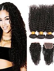 baratos -3 pacotes com fechamento Cabelo Mongol Kinky Curly Cabelo Humano Presentes / Peça para Cabeça / Extensor 8-24 polegada Tramas de cabelo humano 4x4 Encerramento Natural / Adorável / Melhor qualidade