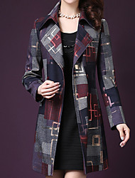 cheap -Women's Going out Street chic / Sophisticated Plus Size Wool Coat - Plaid / Checkered, Patchwork V Neck