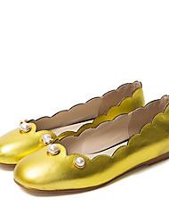 cheap -Women's Shoes Nappa Leather Summer Ballerina Flats Flat Heel Round Toe Imitation Pearl Black / Red / Almond