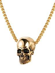 preiswerte -Herrn Seil Anhängerketten - Edelstahl Totenkopf Modisch Gold, Schwarz, Silber 55 cm Modische Halsketten 1pc Für Geschenk, Strasse