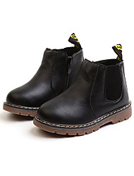 cheap -Girls' Shoes Faux Leather / PU(Polyurethane) Spring &  Fall / Spring & Summer Comfort / Combat Boots Boots Walking Shoes Split Joint for Kids Black / Gray / Light Brown / Booties / Ankle Boots