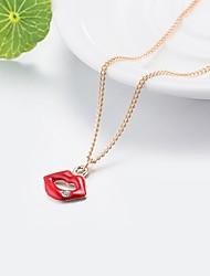 Недорогие -Жен. 3D Ожерелья с подвесками - Стразы Ключи, Губы Классика, Классический Милый Красный 55 cm Ожерелье Бижутерия 1шт Назначение Повседневные, Для улицы