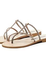 baratos -Mulheres Sapatos Camurça Verão Conforto Chinelos e flip-flops Sem Salto Dedo Aberto Preto / Prata / Amêndoa