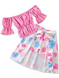 Недорогие -малыш Девочки Цветочный принт / С принтом Рукав до локтя Набор одежды