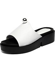 cheap -Women's Shoes Nappa Leather Summer Comfort Slippers & Flip-Flops Creepers White / Black