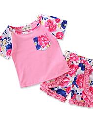 Недорогие -малыш Девочки Цветочный принт / С принтом С короткими рукавами Набор одежды