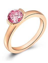 abordables -Mujer Zirconia Cúbica Apilar / Solitario Anillo - Rosa Oro Plateado Clásico 7 / 8 / 9 Oro Rosa Para Regalo / Cita