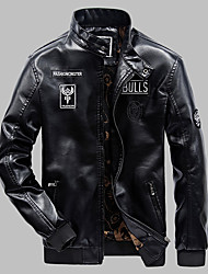 cheap -Men's Work Faux Leather Leather Jacket - Solid Colored Stand / Long Sleeve