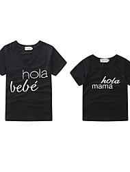abordables -Bébé Maman et moi Lettre Manches Courtes Tee-shirts