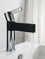 abordables -Robinet lavabo - Design nouveau Chrome / Noir Set de centre Mitigeur un trou