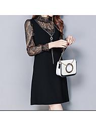 cheap -Women's Going out Slim Little Black Dress Crew Neck