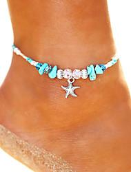 cheap -Turquoise Beads Yoga Anklet Ankle Bracelet - Starfish Vintage, Bohemian, Fashion Silver For Holiday Bikini Women's