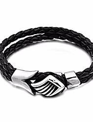 baratos -Homens Fashion / Entrançado tear Bracelet - Pele, Aço Titânio, Inoxidável Criativo Estiloso, Europeu, Na moda Pulseiras Preto Para Rua / Para Noite