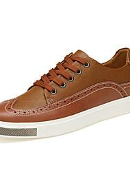 preiswerte -Herrn Leder Sommer Komfort Sneakers Schwarz / Braun