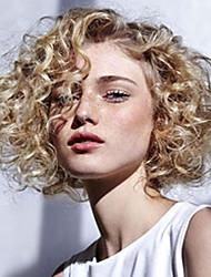 Недорогие -Парики из искусственных волос Кудрявый Блондинка Боковая часть Искусственные волосы 12 дюймовый С Bangs Блондинка Парик Жен. Средняя длина Без шапочки-основы Черный / Клубника Blonde