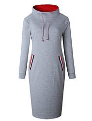Недорогие -Жен. Классический / Уличный стиль Оболочка Платье - Однотонный До колена