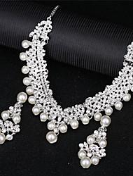 Недорогие -Жен. Синтетический алмаз Многослойность Комплект ювелирных изделий - Любовь Элегантный стиль Включают Жемчужные ожерелья Серебряный Назначение Свадьба Для вечеринок