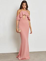 baratos -Mulheres Moda de Rua / Sofisticado Tubinho / Bainha Vestido - Frufru, Sólido Longo