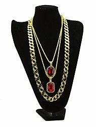 cheap -Men's AAA Cubic Zirconia Retro / Thick Chain Statement Necklace / Long Necklace - Creative Gold 30/54/76 cm Necklace 3pcs For Carnival, Club