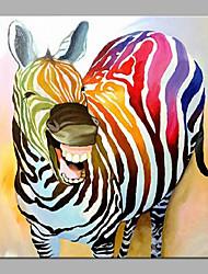 Недорогие -Hang-роспись маслом Ручная роспись - Поп-арт Modern Без внутренней части рамки / Рулонный холст