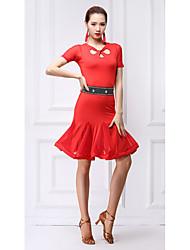 baratos -Dança Latina Vestidos Mulheres Treino Fibra de Leite Cristal / Strass Manga Curta Natural Vestido / Calções