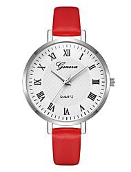 Недорогие -Geneva Жен. Наручные часы Китайский Новый дизайн / Повседневные часы / Cool Кожа Группа На каждый день / Мода Красный / Фиолетовый / Бежевый / Один год