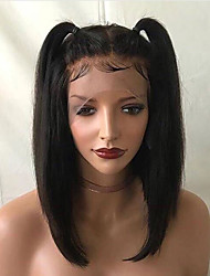 cheap -Remy Human Hair Lace Front Wig Brazilian Hair Straight Wig Short Bob / Deep Parting 150% With Baby Hair / For Black Women / With Bleached Knots Natural / Black Women's 8-14 Others / Human Hair Lace