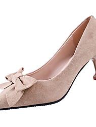 Недорогие -Жен. Обувь Полиуретан Лето Туфли лодочки Обувь на каблуках На шпильке Заостренный носок Бант Черный / Хаки